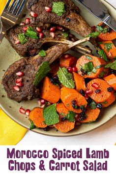 Cook Time: 1 hour Servings: 4 servings Ingredients: For Lamb Chops: • 1 1/2 - 2 lb. bone-in lamb chops • 1/3 cup evoo • 1/4 cup This Little Goat went to Morocco • 1/2 tsp kosher salt • Cooking oil For Carrot Salad: • 2 lb. large carrots • 2 Tbsp fresh lemon juice • 3 Tbsp extra-virgin olive oil • 1 Tbsp This Little Goat went to Morocco • 2 1/2 tsp kosher salt, divided, plus more to taste • 1/4 cup dried currants • 1/2 cup chopped cilantro Cover Photo Credit: Page & Plate Goat Recipes, Carrot Salad, Juice 3, Lamb Chops, Cooking Oil, Fresh Lemon Juice, Pot Roast, Carne Asada