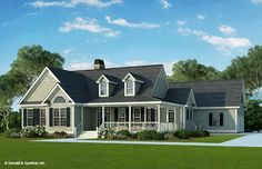 The Brunswicke #1139! This country cottage house plan lives much larger than it looks, as the twin dormers and multiple gables combine for a striking facade. #WeDesignDreams