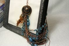 Copper Necklace  with vintage copper lions head by AngleAh on Etsy, $48.00