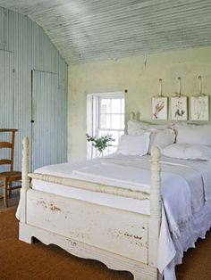 idea: if you have to keep paneling on a wall, paint it but distress it to look old like in this picture