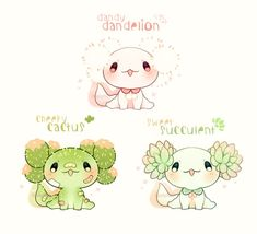 Cute Fantasy Creatures, Mythical Creatures Art, Cute Creatures, Cute Kawaii Animals, Cute Animal Drawings Kawaii, Cute Drawings, Arte Do Kawaii, Kawaii Art, Cute Reptiles