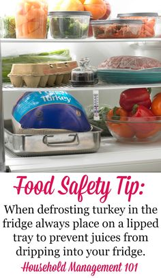 Food safety tip when defrosting turkey in the refrigerator to keep raw turkey juice drippings from getting on any other food or the fridge itself. You can get full instructions for how to thaw turkey safely in the article on Household Management Freezer Cooking, Easy Cooking, Cooking Tips, Cooking Recipes, Defrosting Turkey, Food Safety Tips, Food Tips, Frozen Turkey, Food Recalls