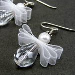 Angel Earrings, May Your Every Wish Come True, Christmas, Sterling Silver - Christmas Jewelry Beaded Christmas Ornaments, Christmas Angels, Christmas Crafts, Christmas Tree, Diy Christmas Earrings, Silver Ornaments, Diy Ornaments, Crochet Ornaments, Christmas Poinsettia