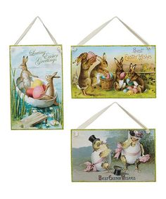 Another great find on #zulily! Easter Vintage Postcard Wall Art Set #zulilyfinds