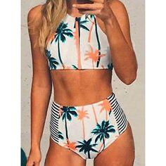 White Coconut Tree Print Zipper Bikini Top And High Waist Bottom (210 SEK) ❤ liked on Polyvore featuring swimwear, bikinis, white swimsuit top, white bikini top, high-waisted swimwear, swim suit tops and white swim top