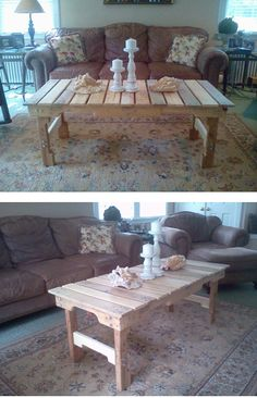 Pallet coffee table all done and staged in my living room! By Kyle Wind