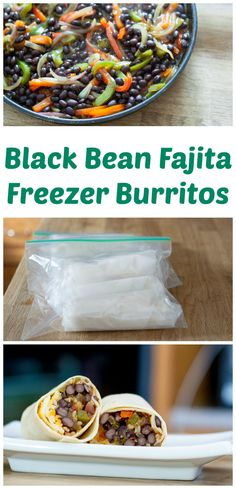 Black Bean Fajita Burritos for the Freezer. A healthy make-ahead vegetarian lunch. Get the recipe. Black Bean Fajita Burritos for the Freezer. A healthy make-ahead vegetarian lunch. Get the recipe. Vegetarian Freezer Meals, Vegetarian Meal Prep, Going Vegetarian, Freezer Cooking, Vegetarian Recipes, Healthy Recipes, Crockpot Recipes, Vegetarian Sandwiches, Vegetarian Breakfast