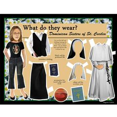 SALE Catholic Dominican Sister of St. Cecilia What do they Wear DIGITAL download dress up DIY paper doll