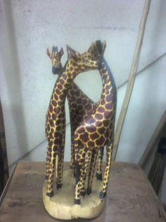 Authnetic original Mara Giraffes 3 wooden sculptures from Kenya