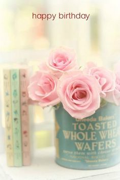 Sweet Simple Table Centre Pale Pink Roses In A Cute Little Vintage Tin With Old Books Shabby Chic