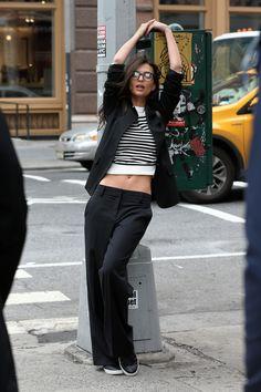 Emily Ratajkowski on the set of DKNY photoshoot in New York on April 24, 2017
