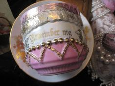 """Antique sentiment cup, also known as """"Friendship Cups."""" """"Remember me."""""""
