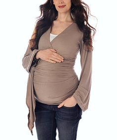 """Adorable Maternity Clothes...Take a look at this Taupe Bella Maternity Wrap Top by Lilac Maternity on #zulily today!"""" data-componentType=""""MODAL_PIN"""