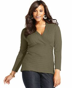 Style&co. Plus Size Long-Sleeve Surplice Sweater in - 2x in purple darkness and in charcoal