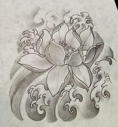 Lotus and waves Lotus Tattoo Design, Floral Tattoo Design, Tattoo Design Drawings, Flower Tattoo Designs, Flower Tattoos, Japanese Flower Tattoo, Japanese Dragon Tattoos, Japanese Tattoo Designs, Feminine Thigh Tattoos