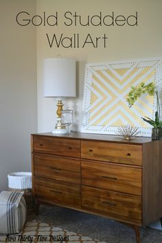 DIY Gold Studded Wall Art Materials: Canvas – Whatever size you need Metallic Gold Spray Paint Gold Thumbtacks – I used about 4 small boxes Painters Tape   TwoThirtyFiveDesigns.com