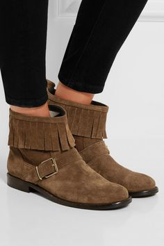 Burberry London | London fringed suede ankle boots | NET-A-PORTER.COM