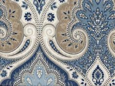 Medium Weight Drapery / Light Weight Upholstery Designer fabric by Kravet featuring large scale damask and paisley designs printed on a linen base. Colors are navy, blue, sky blue, golden . Paisley Fabric, Ikat Fabric, Drapery Fabric, Golden Tan, Green Bedding, Paisley Design, Fabric Patterns, Damask, Fabric Design