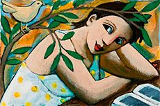 Artist: Anita Klein  Title: Reading Garden  Medium: Acrylic on paper