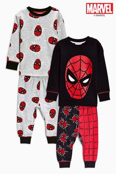 Buy Two Pack Spider-Man™ All-Over-Print Drop Crotch Pyjamas (9mths-8yrs) from the Next UK online shop