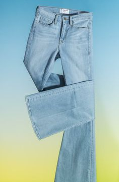 Light denim flared jeans for spring.