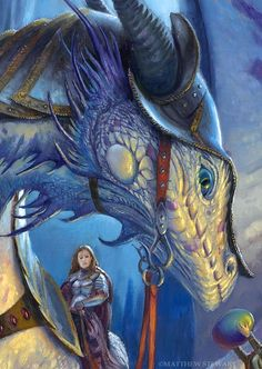 Dragonforge (Matt Steward). Armoured woman riding a dragon.