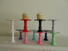 Mini wood cupcake stands pedestals or cake pop stands SET 3 you choose colors ECS. $12.00, via Etsy.