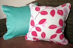 SALE  Pair of leaf print 16 cushion covers by BlossomvioletCrafts