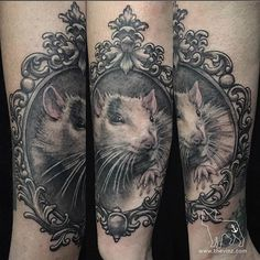 Not every pet has to be a cat or dog. Tattoo by Vinny Valdez. Awesome Tattoos, Cool Tattoos, Rat Mouse, Body Modifications, Animal Tattoos, Sea Creatures, Tattoo Art, Tattoo Inspiration, Tattos