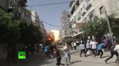 Cámaras captan el momento de un ataque aéreo israelí y el subsiguiente c...