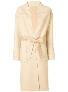Beige wool-cashmere blend belted tailored coat from Agnona.
