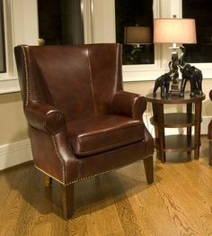 Elements Fine Home Camden Top Grain Leather Accent Chair in Raisin