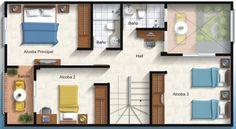 Esta es la planta de nuestro piso. El piso tiene dos dormitorios, uno es matrimonial y el otro es individual. Además hay una cocina muy grande, un salón pequeño, un escalero que tiene una librería abajo, un pequeño balcón y un jardín. Es un piso muy acogedor y luminoso. Es moderno y centrico además está situado cerca de una estación de trenes.