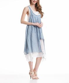 Another great find on #zulily! Simply Couture Denim Crochet-Accent Layered Handkerchief Dress by Simply Couture #zulilyfinds