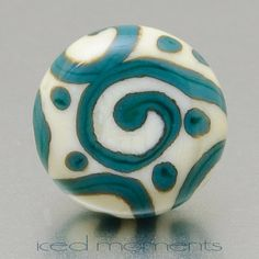 Lapel pin  Helix in ivory and green  lampwork glass by IcedMoments, $15.00