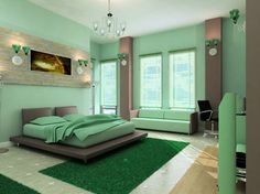 Green And Brown Bedroom Warm Blue Bedroom Inspiring Home Decorating Ideas And Architecture Bedroom Ideas Green And Purple Bedroom Green Bedroom Color Ideas. Grey And Lime Green Bedroom Ideas. Interior Design Bedroom, Bedroom Color Schemes, Bedroom Green, Bedroom Interior, Master Bedroom Colors, Amazing Bedroom Designs, Green Bedroom Walls, Modern Bedroom, Bedroom Wall