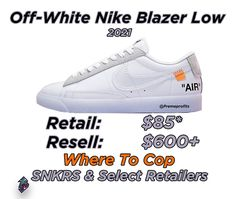 "Preme Profits (@premeprofits) hat ein Foto auf seinem/ihrem Instagram-Konto veröffentlicht: ""The Off-White Nike Blazer Low is scheduled to release in 2021. Retail is not confirmed but expect…"" Air Force Sneakers, Nike Air Force, Sneakers Nike, Nike Blazer, Shoe Releases, White Nikes, Retail, Hat, Instagram"