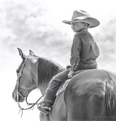 """His Horizons by Mary Ross Buchholz Graphite & Charcoal ~ 16.5"""" x 15.5"""""""