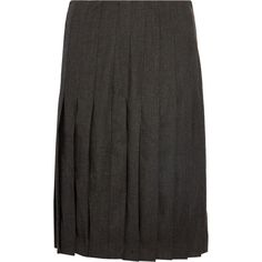 Sandro - Jemma Chiffon-paneled Pleated Wool Skirt (205 BRL) ❤ liked on Polyvore featuring skirts, charcoal, pleated skirt, wool skirt, chiffon skirt, zipper skirt and sandro