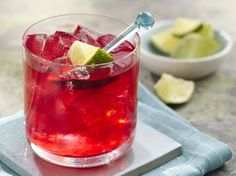 Hibiscus Lime Margarita:  Homemade hibiscus syrup adds bright flavor and vibrant color to a fresh lime margarita.