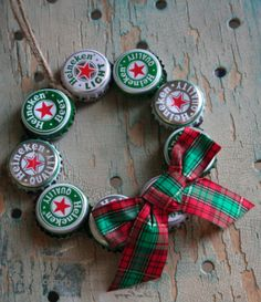 Beer Gifts for Christmas: Heineken Beer Bottle Cap Tree Ornament by Ta-da! Workshop @ Etsy -- other beer brands are available too including Corona, Coors, Michelob, Sam Adams, Rolling Rock Budweiser, Stella Artois, as well as vintage soda pops.