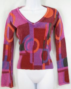 CACHE Size S Funky Geometric Wool Angora Bell Sleeve V Neck Sweater FLAW #Cach #VNeck