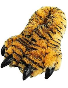 Wishpets Tiger Paw Slippers (Brown & Black, Small)