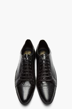 JUUN.J Black Patent Leather Croc-Embossed Dress Sneakers