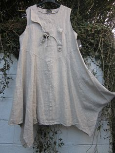 "SARAH SANTOS LINEN DRESS OATMEAL QUIRKY HEM BNWT 46"" bust LAGENLOOK ETHNIC | eBay"