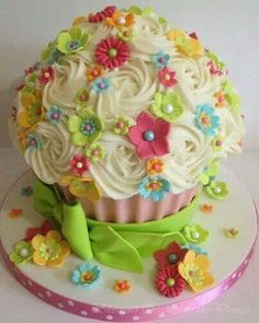 Cup cake gigante de flores