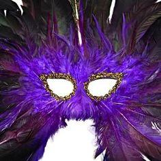 Purple Feathered Large Span Masquerade Costume Mask
