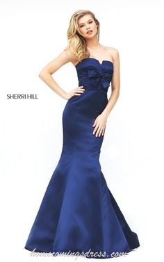 Navy Sherri Hill 50543 Strapless Mermaid Dress 2016 with Bow · Fitted  Homecoming DressMermaid Prom ...