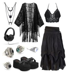 A fashion look from January 2016 featuring kimono tops, sexy tops and black shoes. Browse and shop related looks. Swaggy Outfits, Edgy Outfits, Pretty Outfits, Cool Outfits, Fashion Outfits, Fashion Women, Women's Fashion, Witch Outfit, Hippie Outfits