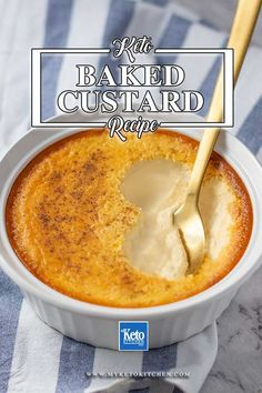This Keto Custard is an Easy Low-Carb Baked Egg Version, its Very Healthy and with blots of Good Fats from Eggs and all the Amino Acids that come with them. So Creamy. #myketokitcchen #custard #custardrecipe #lowcarb #keto #ketocustard #lowcarbcustrad #sugarfree Keto Foods, Ketogenic Recipes, Ketogenic Diet, Keto Snacks, Sugar Free Desserts, Sugar Free Recipes, Low Carb Desserts, Baking Desserts, Baked Custard Recipe